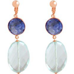 Ohrclips 925 Silber/rosévergoldet mit Blue Saphiren und Aquamarinen