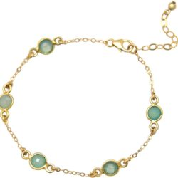 Armband 925 Silber/vergoldet mit 5 Chalcedonen meeresgrün