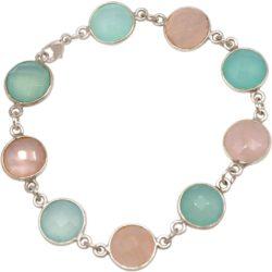 Armband 925 Silber mit Rosenquarzen und Chalcedonen meeresgrün