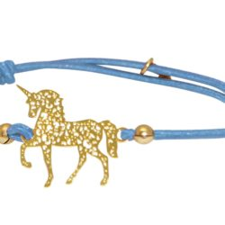 "Armband hellblau mit Anhänger ""Einhorn"" 925 Silber/vergoldet"