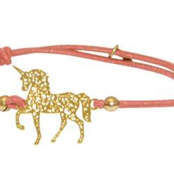 "Armband korallefarben ""Einhorn"" 925 Silber/vergoldet"