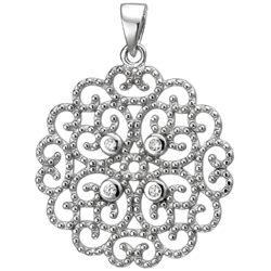 """Anhänger """"Romantik-Floral"""" 925 Silber mit 4 Zirkonia weiß"""