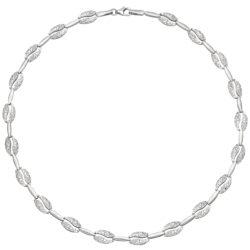Collier mit Ovalen 925 Silber teilgehämmert