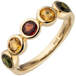 Ring 585 Gelbgold mit 2 Citrinen, 1 Granat rot, 2 Turmalinen grün