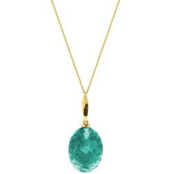 Collier 925 Silber/vergoldet mit Turmalin grün oval