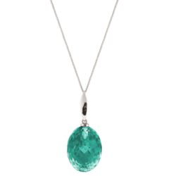 Collier 925 Silber mit Turmalin grün oval