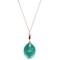 Collier 925 Silber/rosévergoldet mit Turmalin grün oval