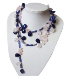 Lariat-Halskette 925 Silber mit Rosenquarzen und Lapislazuli