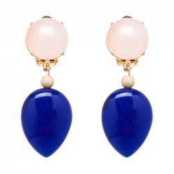 Ohrclips vergoldet mit Rosenquarz und Lapis Lazuli